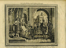 1783 Genuine Antique print Columbus presenting to King/Queen of Spain, Middleton
