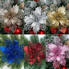 10X Christmas Large Poinsettia Glitter Flower Tree Hanging Party Xmas Decor Hot