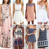Women Summer Boho Long Maxi Evening Cocktail Party Mini Beach Dress Sundress Lot