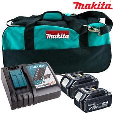 Makita 2 x BL1850 BATTERIA + Caricabatterie DC18RC + LXT400 Borsa per DHP453Z, DHP482Z