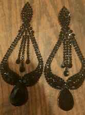 BRIDAL WEDDING BLACK RHINESTONE CRYSTAL CHANDELIER Post TEARDROP PARTY EARRINGS
