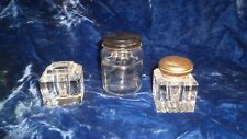 Lot of 3 Glass Inkwells