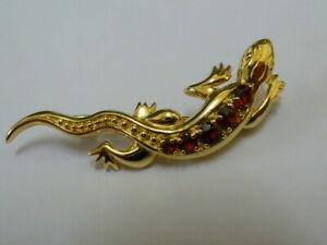 Stunning 9ct Gold Garnet Set Lizard Brooch - Fully hallmarked