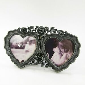 RUSS Picture Photo Frame metal pewter tone Double Hearts Tabletop ~ holds 3x2.75