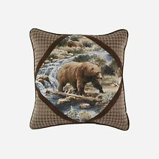 "Croscill Kodiak 18 x 18"" Square Pillow features the bear jacquard with corners"