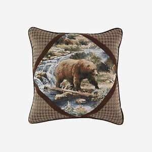 "Croscill Kodiak 18 x 18"" Square Pillow features the bear jacquard with corners"