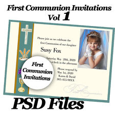 Photoshop Templates PSD for First Communion Invitation, Announcement