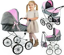 Dolls Cambridge Pram Vintage Stroller Doll Buggy with Storage Basket & Carry Bag