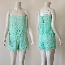 Mint Crochet Flounce Sleeveless Cami Romper/ Large
