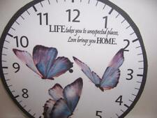 """WALL CLOCK- THEME. """" Butterflies-Quote """" Battery operated 9"""" Great Gift-Mothers"""
