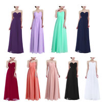 Women's Bridesmaid Dress Pleated Strapless Long Chiffon Evening Party Prom Gown