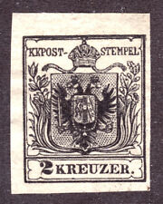 AUSTRIA #2 2kr BLACK, 1850 IMPERF, VG, UNUSED, NO GUM
