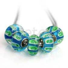 5/10pcs Silver Murano Lampwork Glass Beads Fit European Bracelet EBLB5
