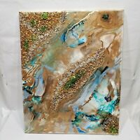Abstract Painting Epoxy Resin Acrylic , 20 in x 16 in Wall Original Artwork