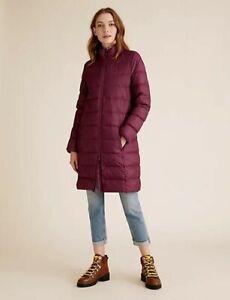 Marks & Spencer Dark Magenta Feather & Down Stormwear Puffer Coat Size UK 14