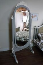 Cheval Standing Mirror In Mercury Grey And White