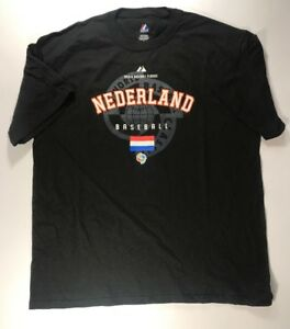 2009 World Baseball Classic The Netherlands Black T-Shirt XL New