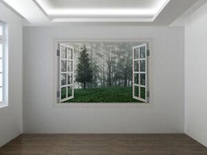 Forest landscape photo window wall sticker wall mural (102655045ww)