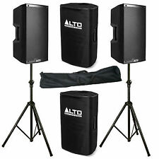 """2 X Alto Ts215w 15"""" Powered 2200w PA Speaker Bluetooth Mixer Cover Stand"""