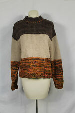 Cambridge Country Brown Tan Orange Mohair Wool Blend Sweater Vintage Sz L VTG