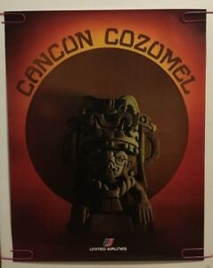 Original Vintage Travel Poster Cancun Cozumel Mexico Pin-up United Airlines 70's