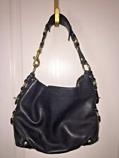 COACH CARLY BLACK CALFSKIN LEATHER HAND BAG SHOULDER BAG PURSE 10615