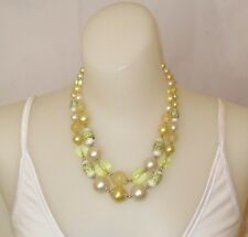 Vintage Lucite Japan Faux Pearl Faceted Yellow Plastic Strand Bead Necklace