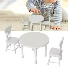Round White Table 2 Chair Set 1:12 Scale Dollhouse Miniature Furniture Kids Toy