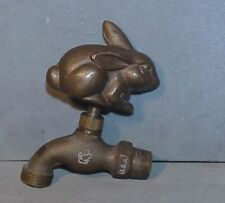 Vintage Resting Rabbit OUTDOOR Knob Water Faucet Spigot Solid Brass Spout USA