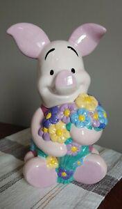 """Disney Piglet cookie jar 11"""" flowers Winnie the Pooh"""