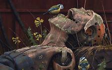Gran impresión enmarcado – muerto robot humano híbrida con pequeñas aves (imagen Cyborg)