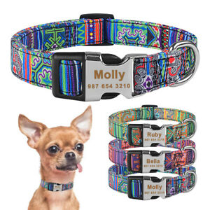 Nylon Dog Collar Personalised Engraved Name ID Tag Boy Girl Puppy Collars S M L