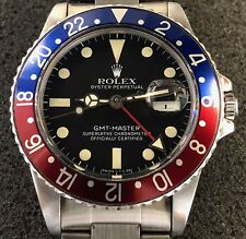 """VINTAGE ROLEX GMT MASTER 16750 STEEL RED/BLUE """"PEPSI"""" BEZEL/ MATTE BLACK DIAL"""