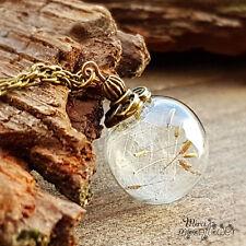Pusteblumenkette bronze - Glaskugelschmuck -Anhänger echte Pusteblumen im Glas