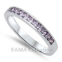 FAMA 925 Sterling Silver Dress Ring Half Round Amethyst CZ Stones Size 5-8
