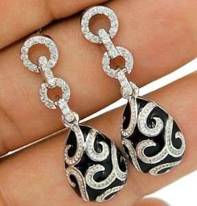 2CT Black Onyx & White Topaz 925 Solid Sterling Silver Earrings Jewelry