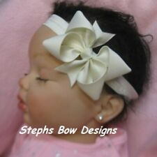 Ivory Boutique Dainty Hair Bow Headband fit Preemie Newborn Toddler Easter Cute