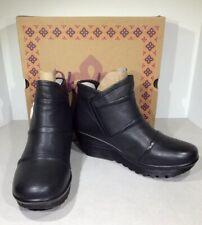 Skechers Parallel Duble Trouble Women's Sz 9.5 Black Leather Wedge Bootie X1-896