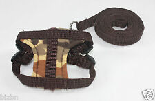 Brown Leashes lead pet soft harness small pet guinea rat Hamster Ferret leveret