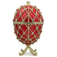 Royal Trellis with Crystals on Red Enamel Royal Inspired Russian Egg 7 Inches