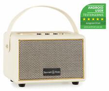Tragbarer Vintage Bluetooth Lautsprecher Wireless Akku Box weiß USB SD AUX MP3