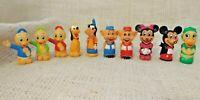 Vtg 10 Plastic Walt Disney Pencil Toppers Mickey Minnie Daisy Goofy Pluto 70s