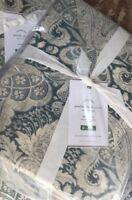 Pottery Barn Janelle Duvet Cover Blue King 2 Euro Shams Damask New