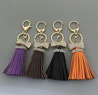 Leather Tassel Crystal Bowknot Handbag Keychain Key Ring Bag Accessories