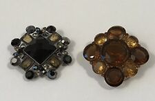 Brooch Pin Rhinestone Fashion Jewelry Vintage Gold Silver Black Brown Set of 2