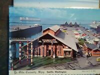 VINTAGE POST CARD AERIAL VIEW OVER YE OLD'E CURIOSITY SHOP  SEATTLE WASHINGTON