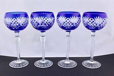 SET OF 4 AJKA ODESSA CAROLINE COBALT BLUE WINE GLASS – MINT