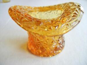VINTAGE FENTON AMBER GLASS TOP HOT DAISY & BUTTON