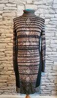 Grey Jumper Dress Karen Millen 4  12uk snakeskin striped block pattern high neck