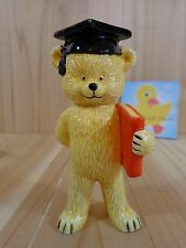 "Danbury Mint Teddy Bear Figurine 4"" Graduate Bear Bone China Vintage 1980s"